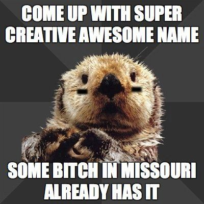 Come up with a super creative awesome name and some bitch in missouri already has it